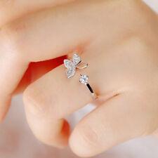 Moda Mariposa Cristal Plata Dama Anillos Ajustables Abiertas Diamente Imitación