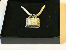 "Wicker Handbag TG98 English Pewter On 18"" White Cord Necklace"