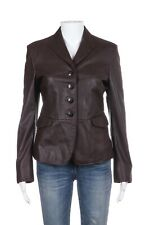 FACONNABLE Leather Blazer XS Brown Collared Long Sleeve Button Down Jacket Coat