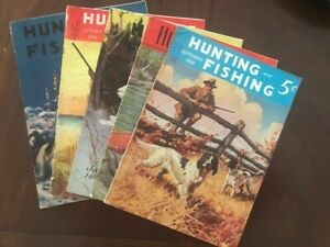 LOT5 Vintage 1930's HUNTING and FISHING Magazines (3 1937) (2 1938)