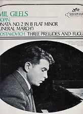EMIL GILELS, CHOPIN SONATA NO 2-SHOSTAKOVICH THREE PRELUDES-1960's-SERAPHIM VG+