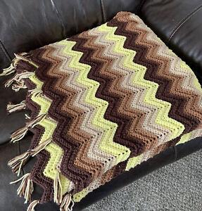 Hand Made CROCHET TASSEL THROW Blanket Chevron Brown Yellow Fringe LAP RUG Knit