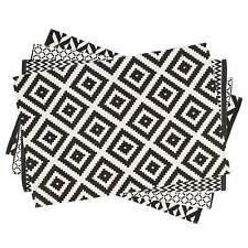 Teppich Geometrische Muster 80 x 120 cm / Läufer, Schwarz, Weiß, 100% Baumwolle