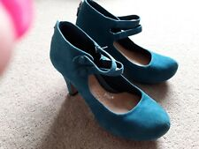 CLARKS TEAL SUEDE MARYJANE COURT SHOES SIZE 3.5 BNWT HEELS ALMOND TOE