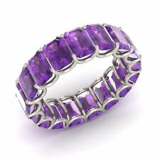 Certified 8.74 Ctw Emerald Cut Amethyst 18k White Gold Full Eternity Band Ring