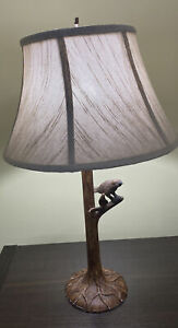 Vintage Bird on Tree Branch Table Lamp with Fabric Shade