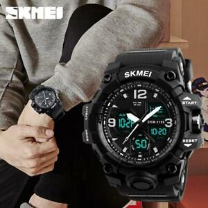 SKMEI Army Military Sport Men's LED Quartz Analog Digital Watch Wrist D6J9