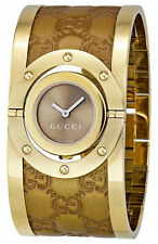 Gucci Twirl Large YG PVD Gold Guccissima Leather Women Watch YA112434