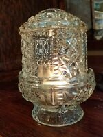 Fairy Lamp Light Vintage Indiana Glass Clear Stars and Bars 2 Piece 6 1/2""