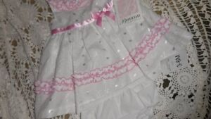 nwt Bonnie Baby white eyelet ruffle dress baby girl 3 m 6 m free ship USA