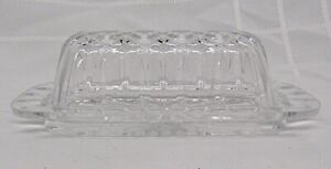 CLEAR GLASS CRYSTAL BUTTER DISH WITH COVER