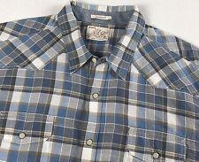 Lucky Brand Mens XL Shirt Western Pearl Snap Long Sleeve Blue Plaid Rodeo Cowboy