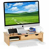 Tribesigns Monitor Stand Riser with Storage Organizer Drawers Bamboo, Natural
