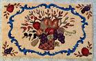 """Vtg HANDMADE Floral Fruit Basket HOOKED RUG  WOOL Multi Color on Beige 33"""" X 20"""""""
