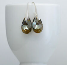 925 Sterling Silver Hook Earrings 16mm Pear/Almond Crystals from Swarovski®
