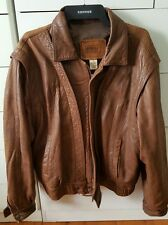 Vintage SARAY House of Leather Motorcycle Tan Brown Leather Jacket Coat Size S