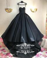 Gothic Black Wedding Dresses Sweetheart Bridal Ball Gown Halloween Ball Dress