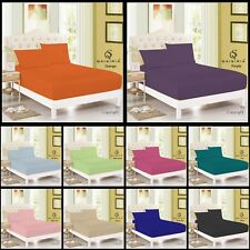 PLAIN FITTED BED SHEET DYED 100% POLYCOTTON SINGLE DOUBLE KING SUPER KING SOFT
