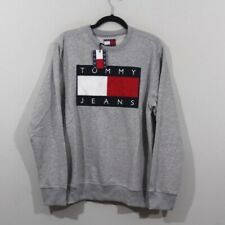 Vtg New Tommy Hilfiger Mens 2XL Spell Out Big Flag Logo Crewneck Sweater Gray