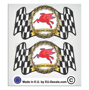 "2X 92mm-3.63"" Vintage Mobilgas Racing Legend Laminated Decal Sticker Pegasus"