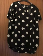 New Ladies New Look Black/ White Spotty Top Size 18