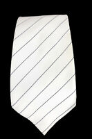 Donald J Trump Signature Tie Collection White/Black Striped Silk Gold Bar