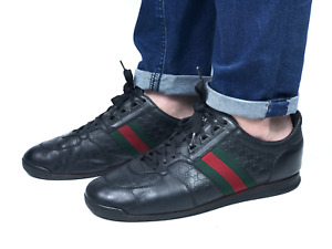 GUCCI men's black leather guccissima sneakers | Size 8.5/US 9.5 (28 cm/11 in)