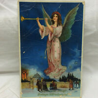 Vtg Embossed Postcard Greeting From Germany Angel w/ trumpet Christmas HWB