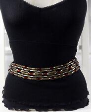 Italian Brass + Amber Beads + Cotton Cord - Adjustable S/M/L Size Woman's Belt