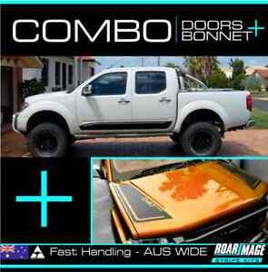 fits D40 Nissan Navara COMBO Bonnet + Doors kit decals stripes stickers 4wd 4x4