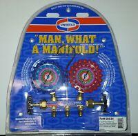A/C MANIFOLD GAUGES UNIWELD QS4L5H FOR R410A R22 R404A w/ 5' Hoses BR.  MANIFOLD