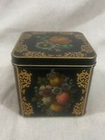 Vintage - Case Maufacturing England Decorative Tin Black Gold Flowers Square