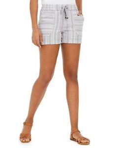 Style & Co. Women's Striped Linen-Blend Shorts, Gray Stripe Combo, Large L