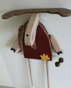 Weihnachtsdeko Holz Elch 52 cm Holzdekoration Tischdeko Winterdeko, Handarbeit