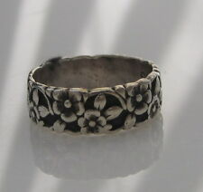 Estate Vintage Ornate Sterling Silver Flower Blossom Nature Size 5.5 Band Ring