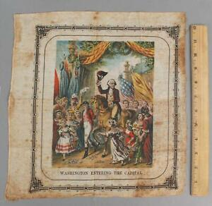RARE Antique Early-19thC Hand Colored Linen George Washington Handkerchief