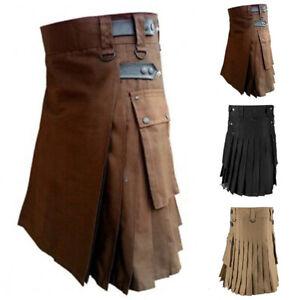 Men Scottish Traditional Highland Dress Utility Kilt Pleated Tartan Wrap Skirts