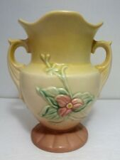 "VINTAGE HULL ART POTTERY DOUBLE HANDLED TRILLIUM / WILDFLOWER W-4 6 1/2"" VASE"