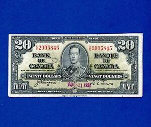 $20 1937 Bank of Canada RARER HIGHER DENOMINATION MID GRADE NOTE