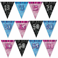 13th-100th 9 Feet Glitz Triangle Flag Banner Bunting Birthday Decorations