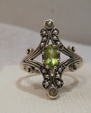 Genuine Peridot & Accents 925 Solid Sterling Silver Victorian Ring Style Sz 6.5