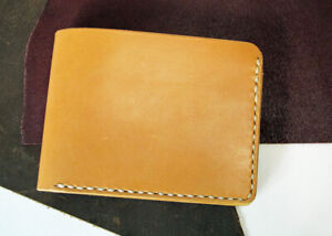 Men's Hand-Sewn Horween Veg-Tan Full-Grain Leather Wallet With Easy Card Removal