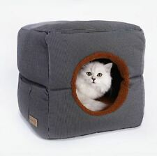 New Warm Pet Dog Cat House Beds Tent Sofa Bed 2 USES Cushion Kitty Mat Removable