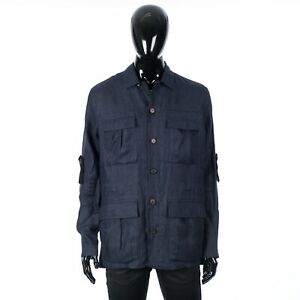 BRIONI 2600$ Boxy Fit Shirt Jacket In Navy Blue Linen