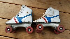 Vintage Fireball Official Roller Derby Skates White/Blue/Red