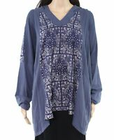 Style & Co. Womens Top Blue Size 2X Plus V-Neck Paisley Knit Hooded $59 157