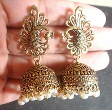 Antique Gold Plated Vintage Pearl Setting Peacock Hanging Earrings Jhumka Indian