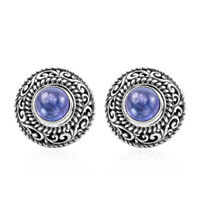 BALI LEGACY 925 Sterling Silver Blue Tanzanite Stud Solitaire Earrings Ct 3.7