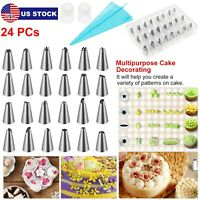 24 PIECES CAKE DECORATING KIT Supplies Tools Tips Icing Bag Nozzles Piping Set