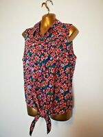 George 16 Blue Pink Floral Ties Sleeveless cotton feel summer holiday Blouse top